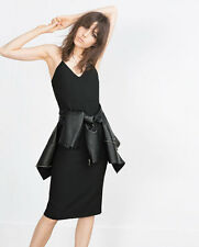 ZARA WOMAN BLOGGER KLEID L 40 PENCIL KLEID SCHWARZ ETUIKLEID SILK OPEN BACK