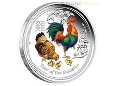 1 $ Dollar Lunar II Jahr Hahn Rooster Australien 2017 PP Farbe 1 Unze oz Silber