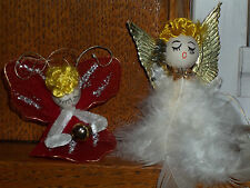 2 Vintage Angel Christmas Tree Ornaments Feather Angel Red Tulle &Chenille Angel