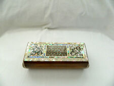 """Egyptian Inlaid Paua Mother of Pearl Pen Holder Box 7.25"""" X 2.75"""" # 623"""