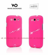 UK WD White Diamonds Swarovski Hard Protective Case Cover Pink Samsung Galaxy S3