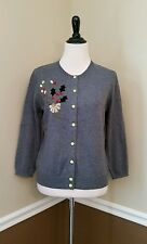 Modcloth Holly at Your Girl Cardigan XL Gray & Lime Green $69 Christmas Retro
