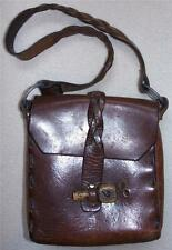 1960s Bojo Thick Leather Shoulder Purse Braided Strap Carved Wooden Peg Closure