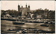 EARLY RP POSTCARD TOWER OF LONDON FROM RIVER WITH BARGES PRE 1914 WYMANS SERIES