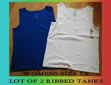LADIES WOMENS PLUS SIZE 5X 30W 32W LOT OF 2 RIBBED TANK TOPS SHIRT CLOTHING NEW