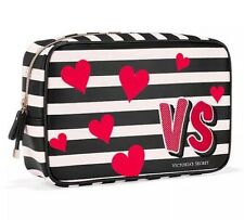 New~VICTORIA's SECRET BLACK WHITE STRIPED RED HEART MAKEUP TRAVEL BAG Train CASE
