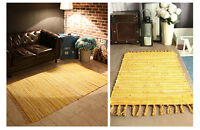 Yellow 100% Eco Recycled Cotton Handmade Mix-Colour Rug Area Rag Rugs Mat