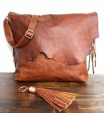 MURKA RAW EDGE DISTRESSED BRITISH BROWN LEATHER TASSEL MESSENGER SHOULDER BAG