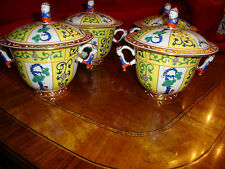 Herend Yellow Dynasty SJ Lidded Soup Cups Large 8oz. capacity Hand  Reticulated