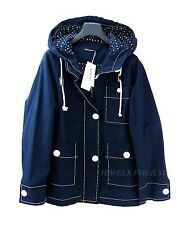 MARIMEKKO IRENE WINDBREAKER SHORT COAT JACKET NAVY BLUE HOOD SIZE M BRAND NEW