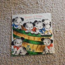 Vintage Birthday Card, Hallmark 10B49-7, Bushel Barrel filled with Puppies