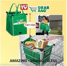 Pair Reusable Same like on TV Grab Bag Clip-To-Cart Grocery Shopping Bags