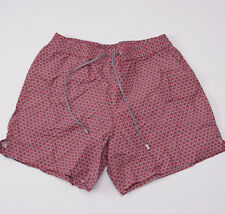 NWT $525 BRIONI Pink Patterned Swim Trunks (32-34 W) Shorts + Travel Pouch