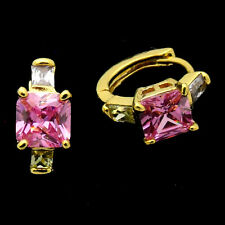24K Gold Plated Earrings Hoop Square Lady Costume Jewel Crystal Multicolour 507