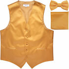 New Men's Gold formal vest Tuxedo Waistcoat_bowtie & hankie set wedding prom