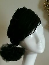 Authentic Christian Dior Chapeaux Vintage Black Tulle Hat With Beads Stunning!