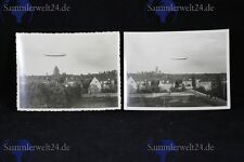 zwei alte orig. Fotos um 1930 Leipzig Süd  mit Zeppelin LZ 130 Überflug