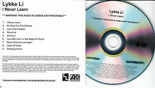LYKKE LI I Never Learn UK 9-trk numbered/watermarked promo test CD