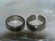 Estate Lot of 2 Etched Greek Key Swirl Silvertone Band Rings Size 6.75 and