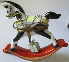 LIMOGES FRANCE PEINT MAIN ROCKING HORSE WITH GIFT PORCELAIN TRINKET BOX - NEW