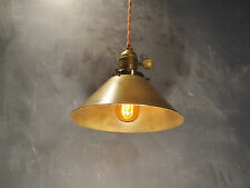 Vintage Industrial Hanging Light with Brass Cone Shade - Machine Age Minimalist