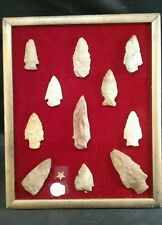 Large collection of framed arrowheads. 11 total. C212