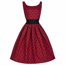 NEW VINTAGE 50'S STYLE LANA RED POLKA ROCKABILLY SWING PARTY DRESS SIZE 18