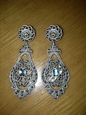 HUGE VINTAGE STERLING SILVER EARRINGS WITH BLUE TOPAZ AND MARCASITE