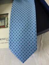 New E. Marinella Naples Hand Made Men's Light Blue Neck Tie 100% Silk from Italy