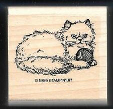 CAT KITTEN YARN BALL Animal Pet Design gift tag Stampin Up! 1995 RUBBER STAMP