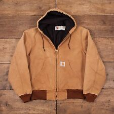"Mens Vintage Carhartt Quilt Lined Workwear Chore Hooded Jacket Brown M 40"" R5173"
