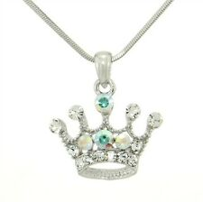 W Swarovski Crystal Crown Queen Royal Princess New Pendant Necklace Jewelry