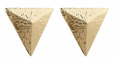 CLIP ON EARRINGS - gold earring luxury stud triangle - Beth
