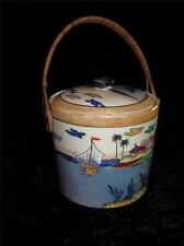 Japanese Earthenware FUKAGAWA WARE BISCUIT BARREL Hand Painted Lustre Finish