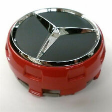 Set of 4 Raised Center Wheel Caps For Mercedes Benz AMG Wheels Red Black Chrome