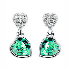 Crystal Green Rhinestones Hearts Drop Party Evening Stud Earrings E1006