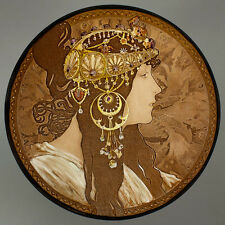 Mucha, Byzantine, Brunette, glass painting, kilnfired stained glass, suncatcher