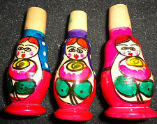 SET OF 3  Handpainted  WOOD  RUSSIAN  DOLL -wistle