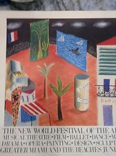 Signed David Hockney Rare Lithograph The New World Festival Of The Arts Vintage