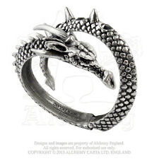 Alchemy Gothic Vis Viva Dragon Serpent English Pewter Hinged Bangle Bracelet