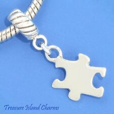 JIGSAW PUZZLE AUTISM .925 Solid Sterling Silver EUROPEAN EURO Dangle Bead Charm