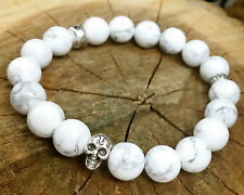 Pure  Howlite Beaded Stretch  Silver Skull Bracelet White