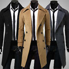 Men's Trench Warmer Coat Winter Long Jacket Double Breasted Overcoat New