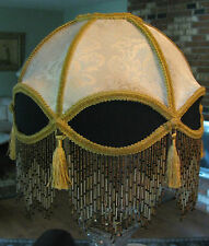 "Victorian French Med Lamp Shade Royal Dome ""Cream/ Black"" Fringe  6"" Beads"