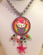 Tarina Tarantino Pink Head Rainbow Perspex Necklace - RARE!