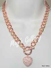 GUESS  Jeans Rhinestone  Necklace Necklaces Pendant Charms Rose Gold tone   NWT