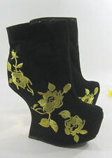 "NEW blacks 6.5""high wedge heel 2""platform gold embroidery sexy ankle boot  8.5"