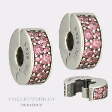 Authentic Pandora Silver Shining Elegance Honeysuckle Pink CZ Clips 2 791817HCZ
