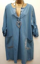 New Italian Lagenlook Blue Sequin Sweat shirt long Tunic dress Top 16 18 20 22