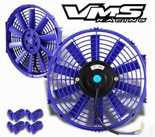 "UNIVERSAL 14"" BLUE ELECTRIC RADIATOR SLIM FAN WITH INSTALLATION KIT"